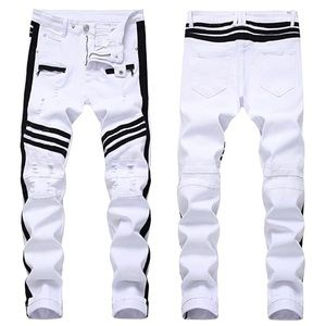 NEW White & Black Ripped Straight Fit Jeans